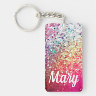 Pinks, Aqua and Lavender rainbow Glitter Key Fob