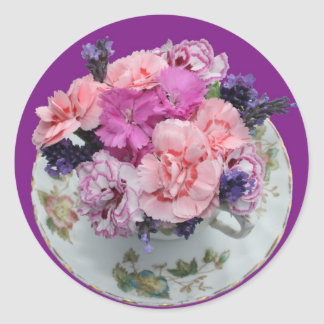 Pinks carnations in teacup classic round sticker