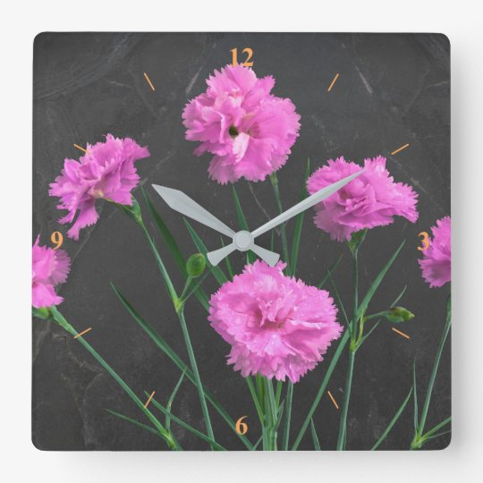 Pinks on Slate Square Wall Clock