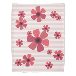 Pinks Stripes and Retro Floral Duvet Cover