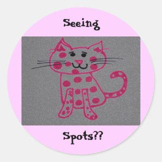 pinky cat, Seeing , Spots?? Round Sticker