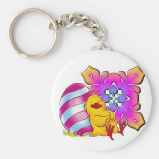 Pinky chick basic round button keychain