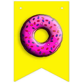 Pinky Donut with colorful sprinkles + your ideas Bunting Flags