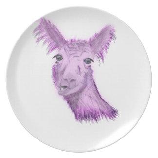 Pinky Posh Llama Plate