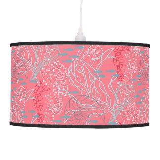 Pinky Seahorse & Seashell Pattern Design Pendant Lamp