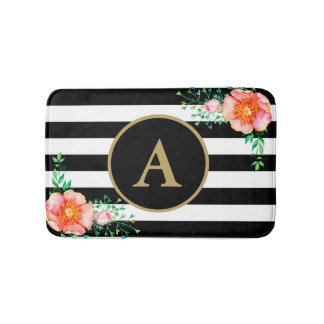 Pinl Floral Bold Black White Stripe Gold Monogram Bath Mat
