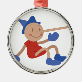 Pinocchio Silver-Colored Round Ornament