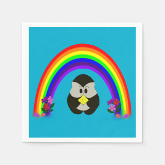 PINPU THE PINGU PENGUIN RAINBOW AND FLOWERS NAPKIN PAPER NAPKINS