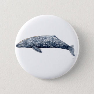 Pins, broaches, plates round gray Whale 2 Inch Round Button