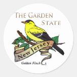 Pinson d'or de garden state de New Jersey Autocollants Ronds