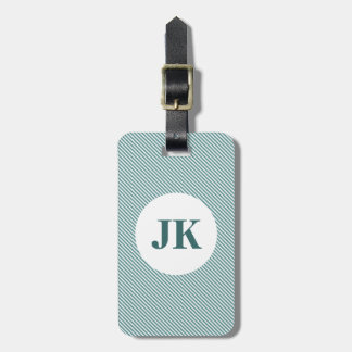 Pinstripe luggage tag with personalizable monogram