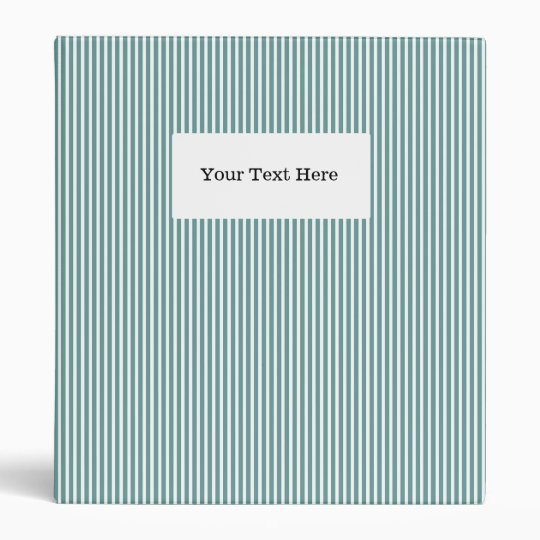 Pinstripe office binder | Teal & white stripes