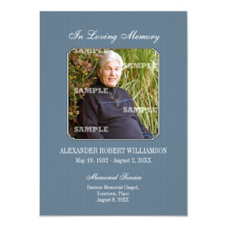 Pinstripe Photo Memorial Invitation