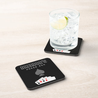Pinstripe Poker Night Set of 6 Cork Coasters