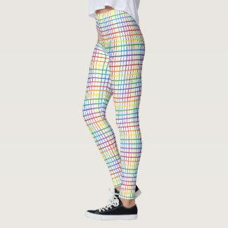 Pinstripe Rainbow Weave White Leggings