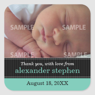 Pinstripe Ribbon Baby Message Sticker
