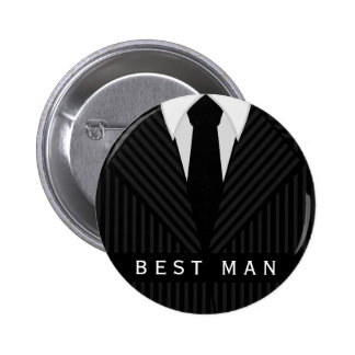 Pinstripe Suit Bachelor Party Best Man Round Pin