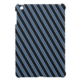 Pinstripes blue black white diagonal stripes iPad mini covers