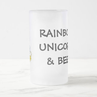 Pint of Gold at End of Rainbow (Plus Unicorn) Frosted Glass Beer Mug
