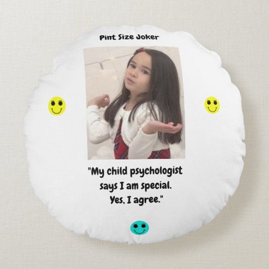 Pint Size Joker: Child Psychologist Special Round Pillow