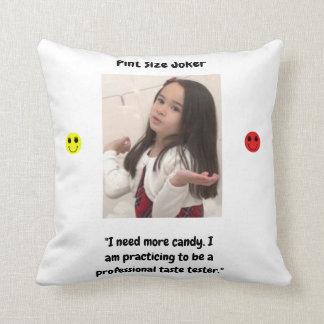 Pint Size Joker Design: Candy Taste Tester Throw Pillow