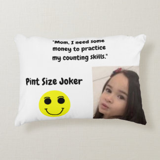 Pint Size Joker Design: Money And Counting Skills Decorative Pillow
