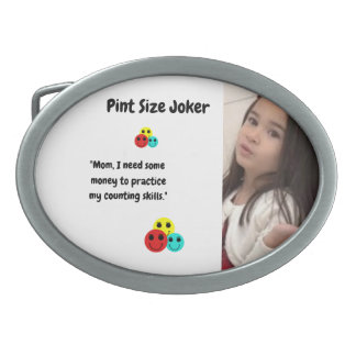 Pint Size Joker Design: Money And Counting Skills Oval Belt Buckle