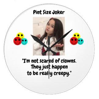 Pint Size Joker Design: Scary, Creepy Clowns Large Clock