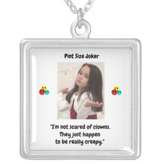 Pint Size Joker Design: Scary, Creepy Clowns Silver Plated Necklace