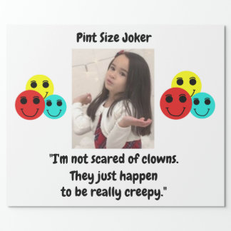 Pint Size Joker Design: Scary, Creepy Clowns Wrapping Paper
