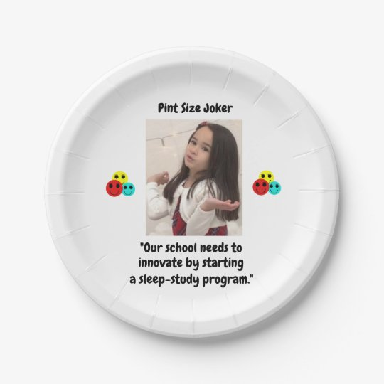 Pint Size Joker: School Sleep-Study Program Paper Plate