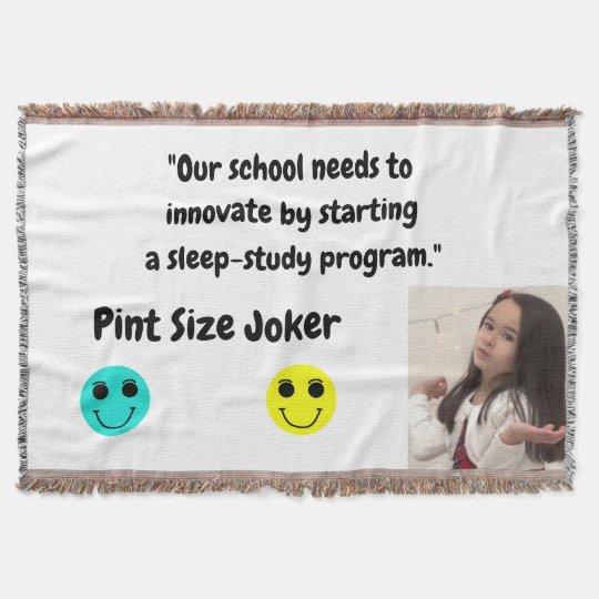 Pint Size Joker: School Sleep-Study Program Throw Blanket