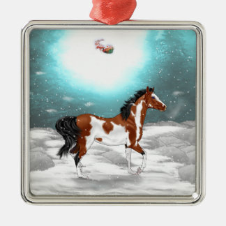 Pinto Arabian Horse Christmas Metal Ornament
