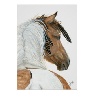 Pinto Horse by BiHrle Poster