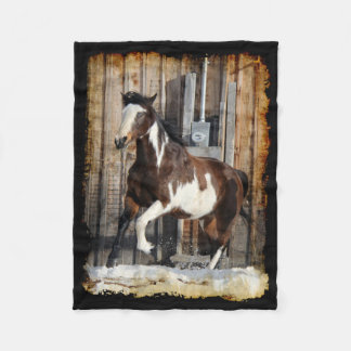 Pinto Horse On The Run Fleece Blanket