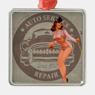 Pinup Car Metal Ornament