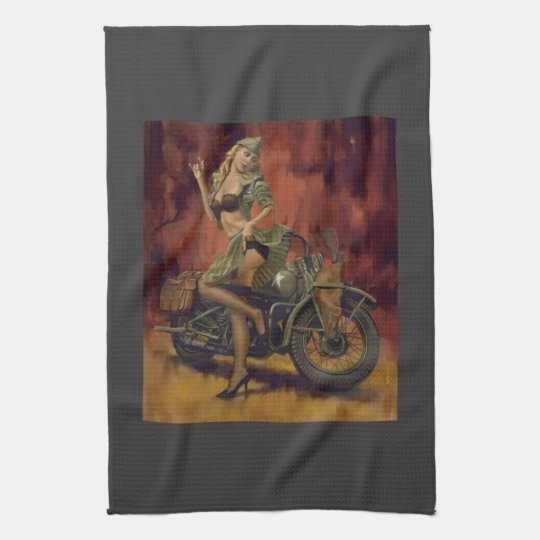 PINUP GIRL AND MOTORCYCLE. KITCHEN TOWEL