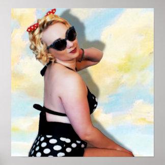 Pinup Girl Bikini Poster