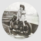 PINUP GIRL ON MOTORCYCLE. CLASSIC ROUND STICKER