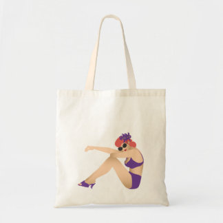 Pinup girl wearing purple swimsuit