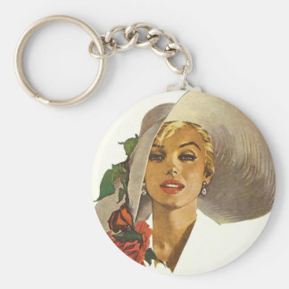Pinup Girl with Large Summer Sun Hat Keychain