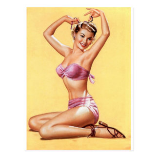 pinup girl world war 2 style nose art vintage postcard