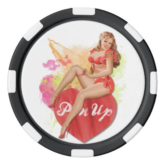 Pinup Heart Poker Chips