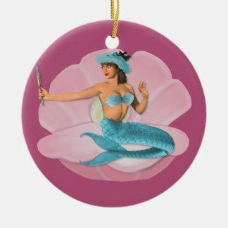 Pinup mermaid ceramic ornament