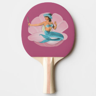 Pinup mermaid ping pong paddle