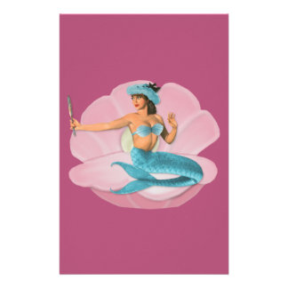 Pinup mermaid stationery