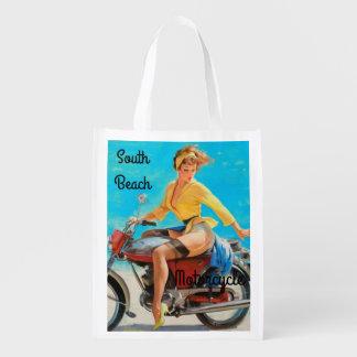 Pinup Motorcycle Reusable Grocery Bag