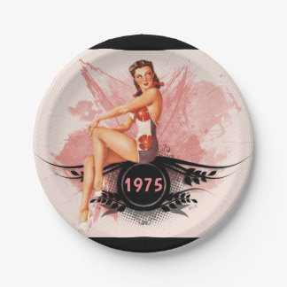 Pinup pink paper plate