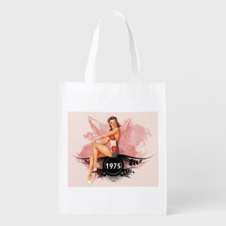 Pinup pink reusable grocery bag