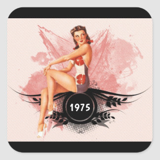 Pinup pink square sticker